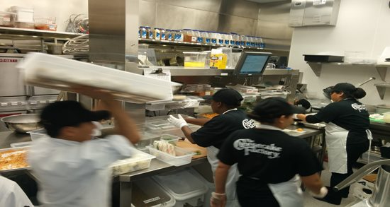 The busy Cheesecake Factory kitchen