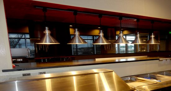 Ken Stewart's East Bank kitchen line and heat lamps