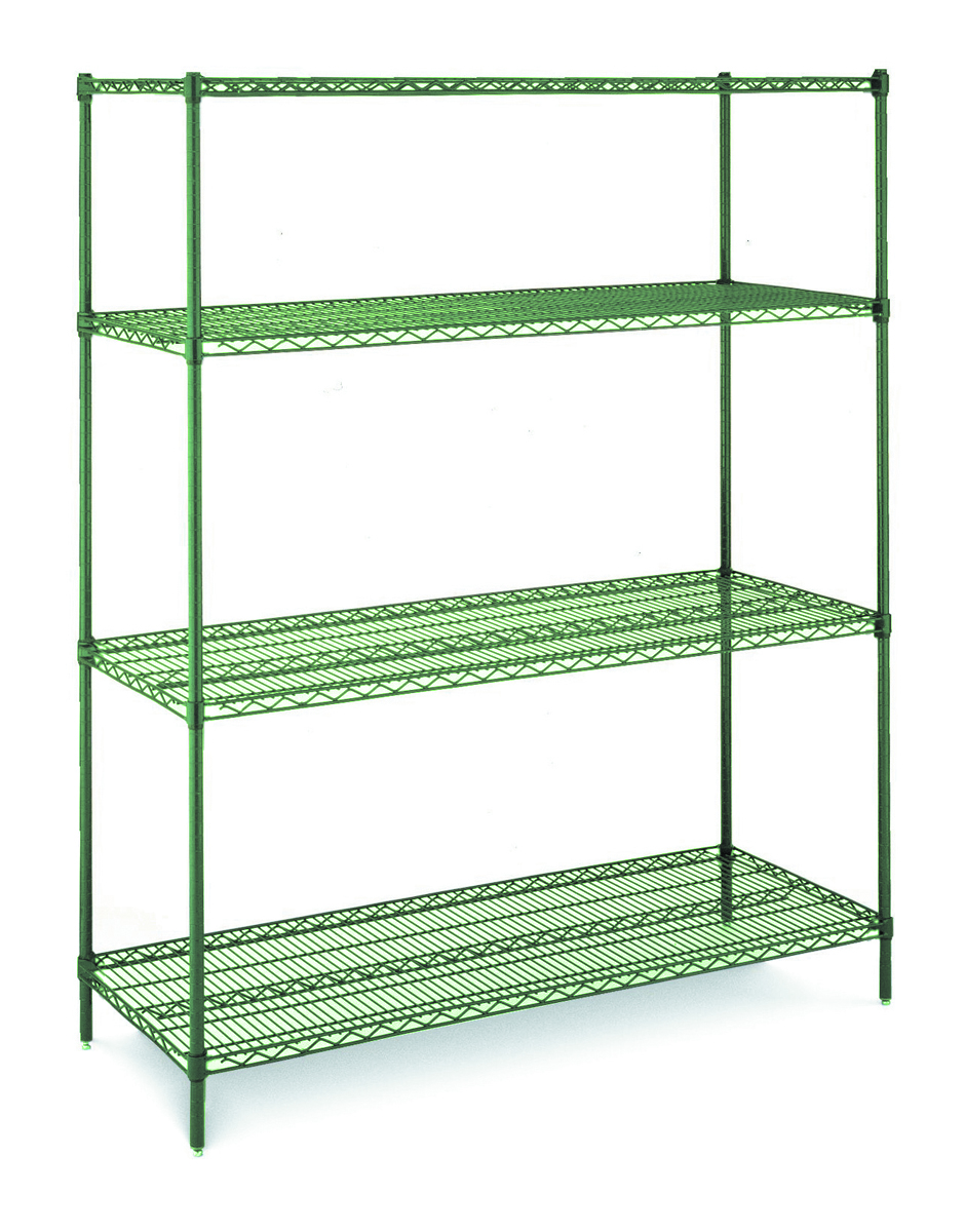 "Green Epoxy Covered Wire Shelving Kit, 18""D x 36""W x 74""H"