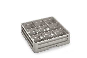 "Culinary Essentials Glass Rack, (9) Compartment, Square,  4 13/16""H Inside, Closed Wall Base"