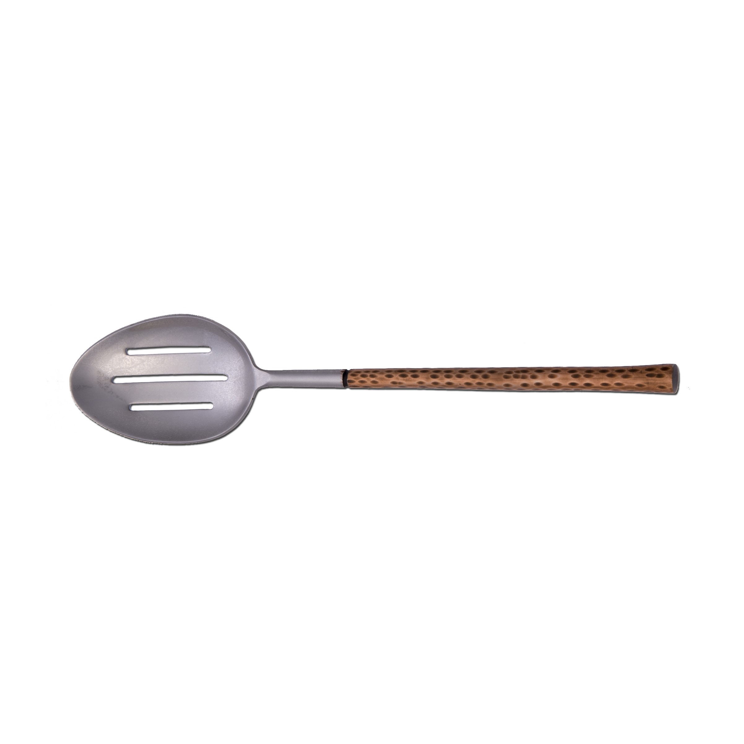 Arcata, Slotted Serving Spoon, Hammered Copper Handle