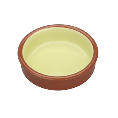 Arcata, Terracotta, Round Dish, Green/Natural